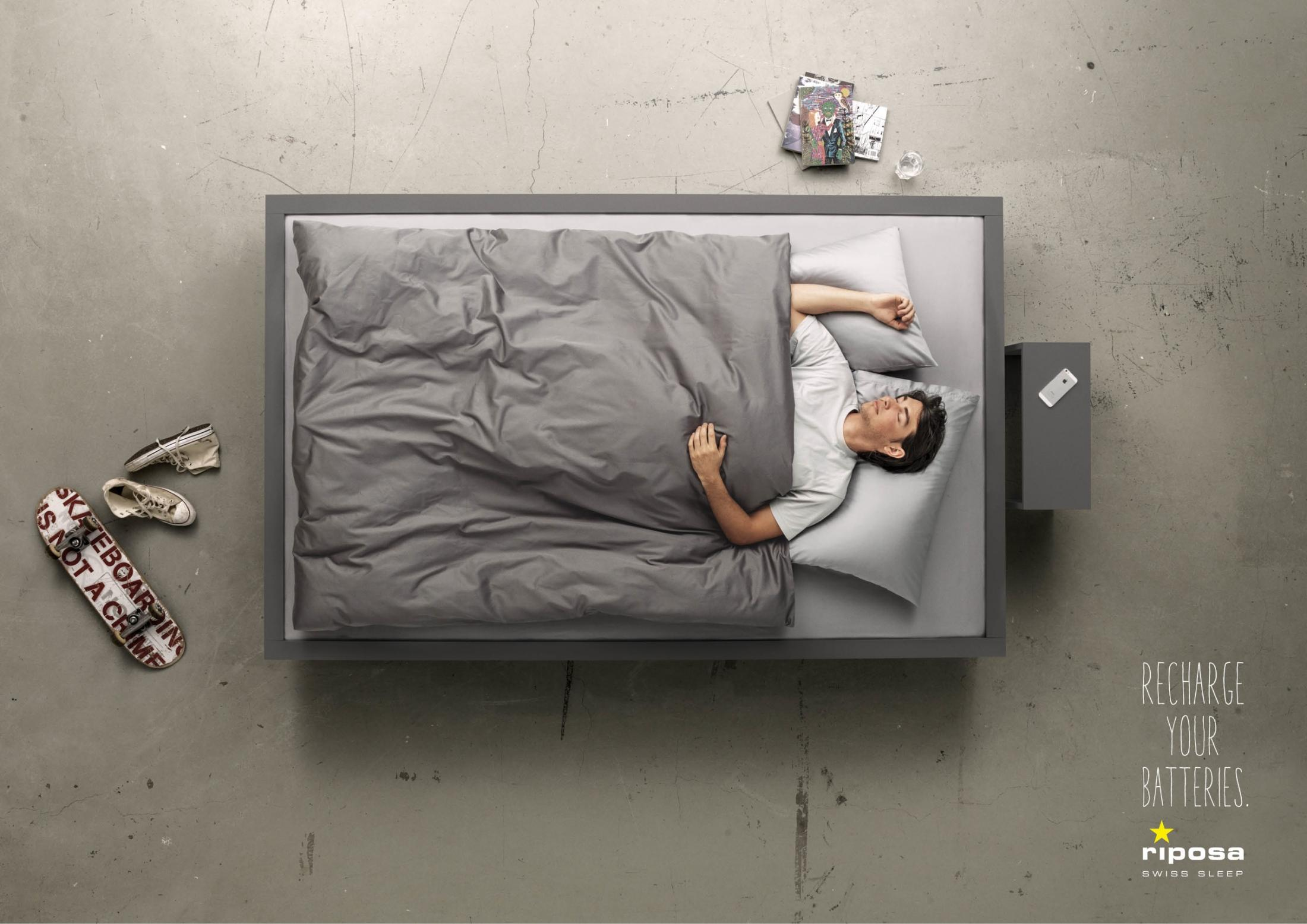 Riposa Print Ad -  Recharge your Batteries, Guy