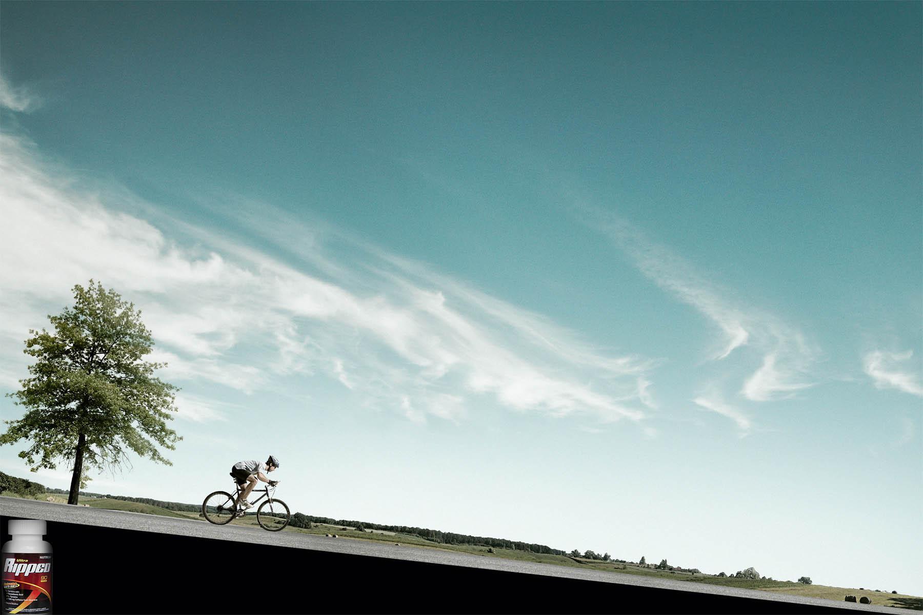 Ripped Energy Pills Print Ad -  Biker