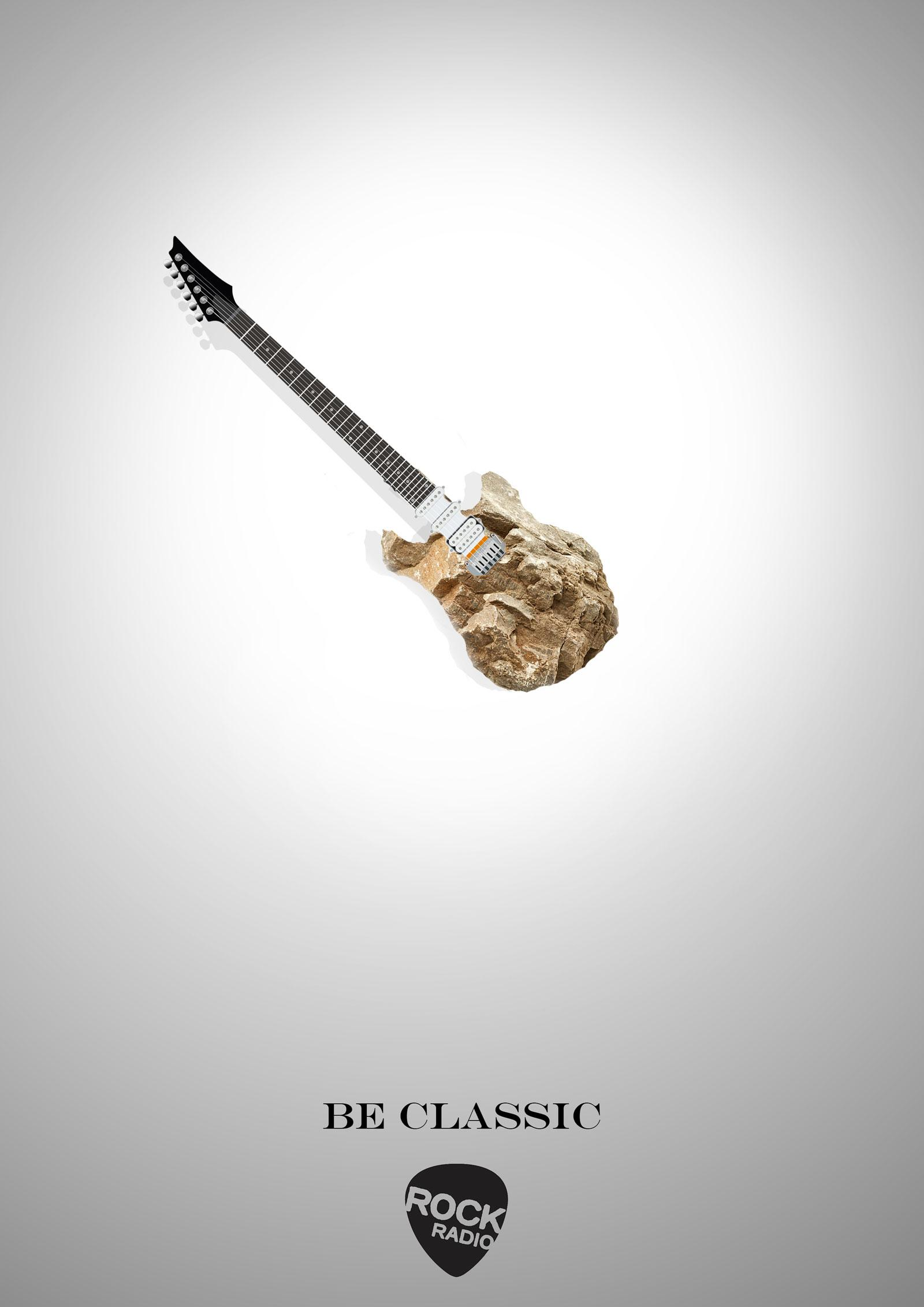 Rock Radio Print Ad - Guitar