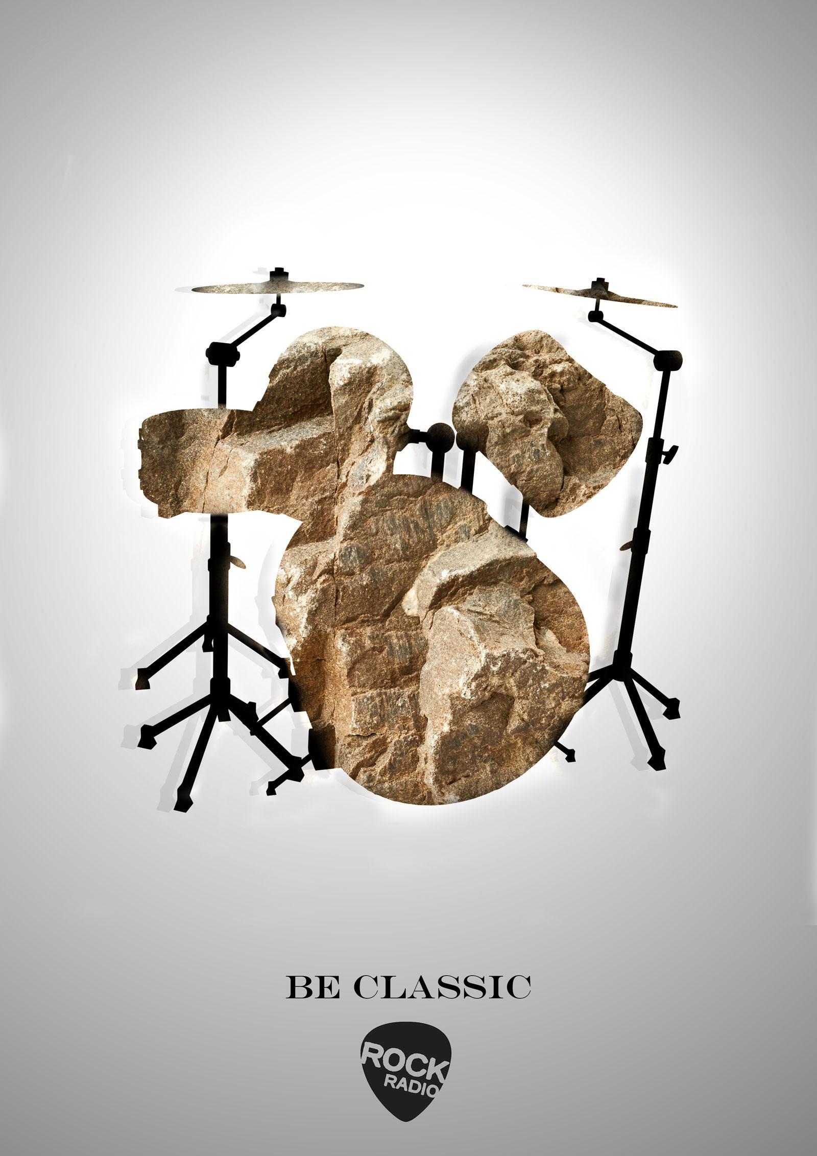 Rock Radio Print Ad - Drums