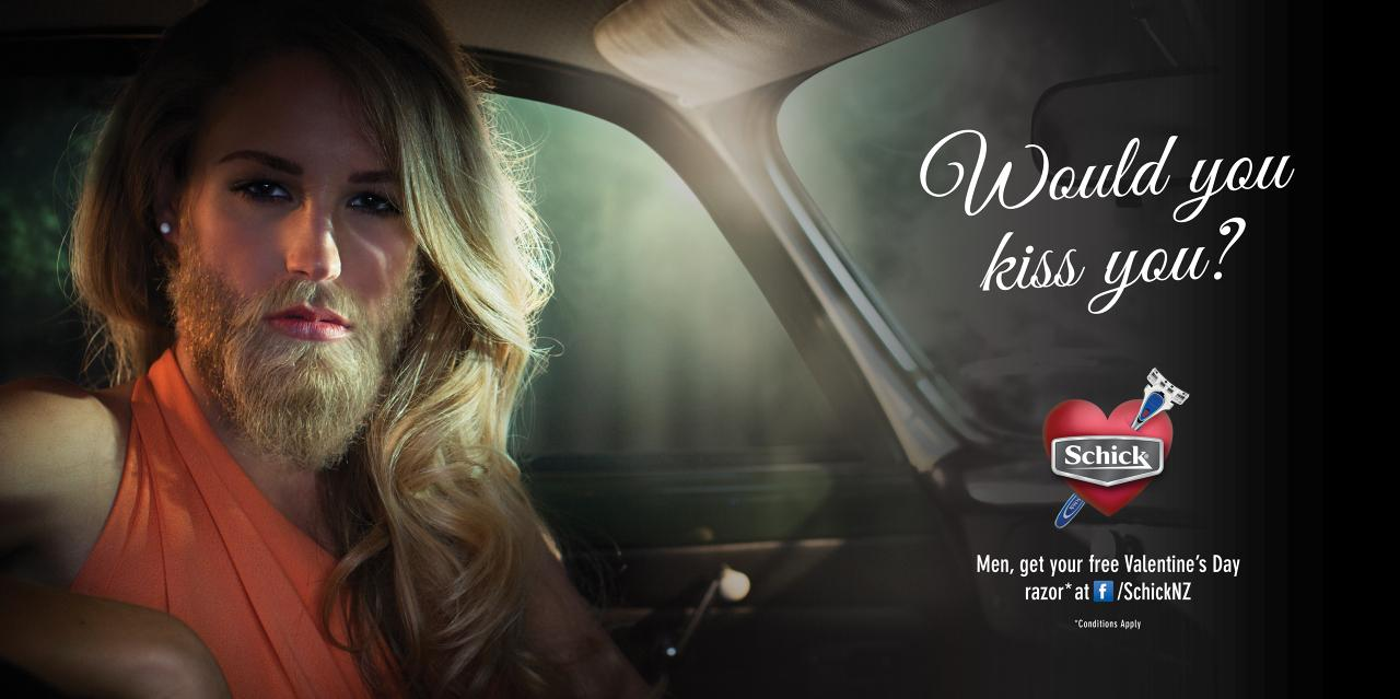 Schick Outdoor Ad -  Would you kiss you?, 2
