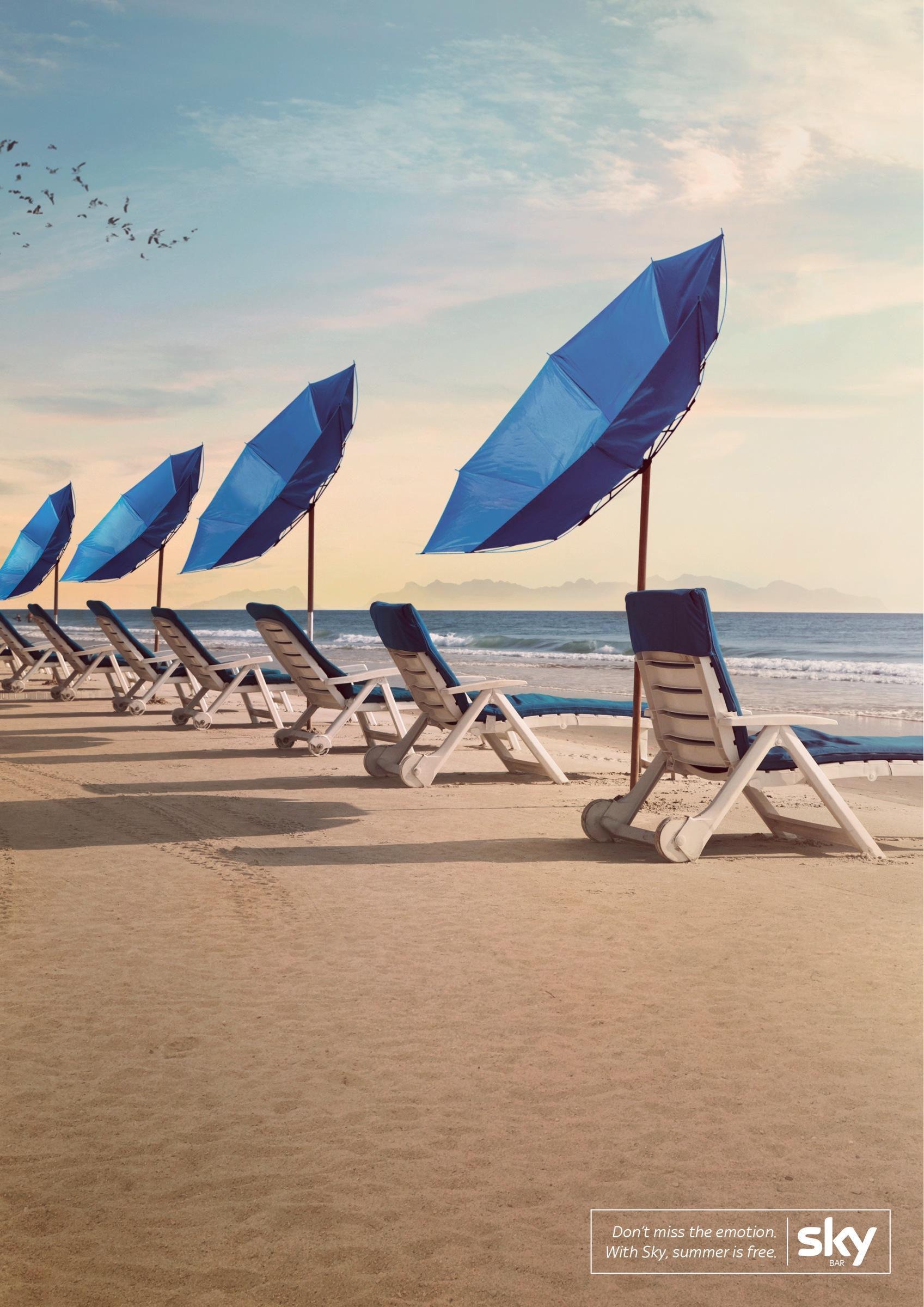 SKY Print Ad -  Beach umbrellas