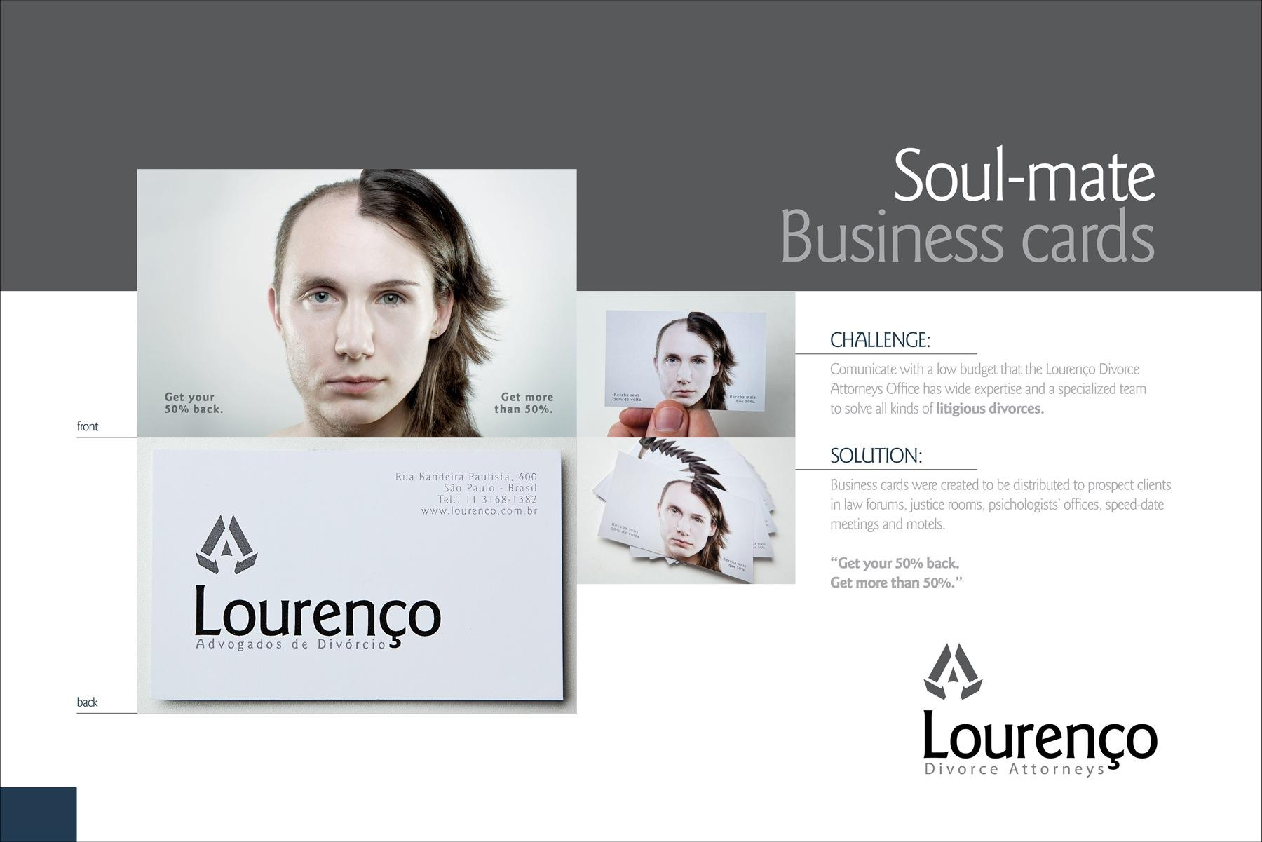 Lourenco Divorce Attorneys Direct Ad -  Soul-Mate Business Cards