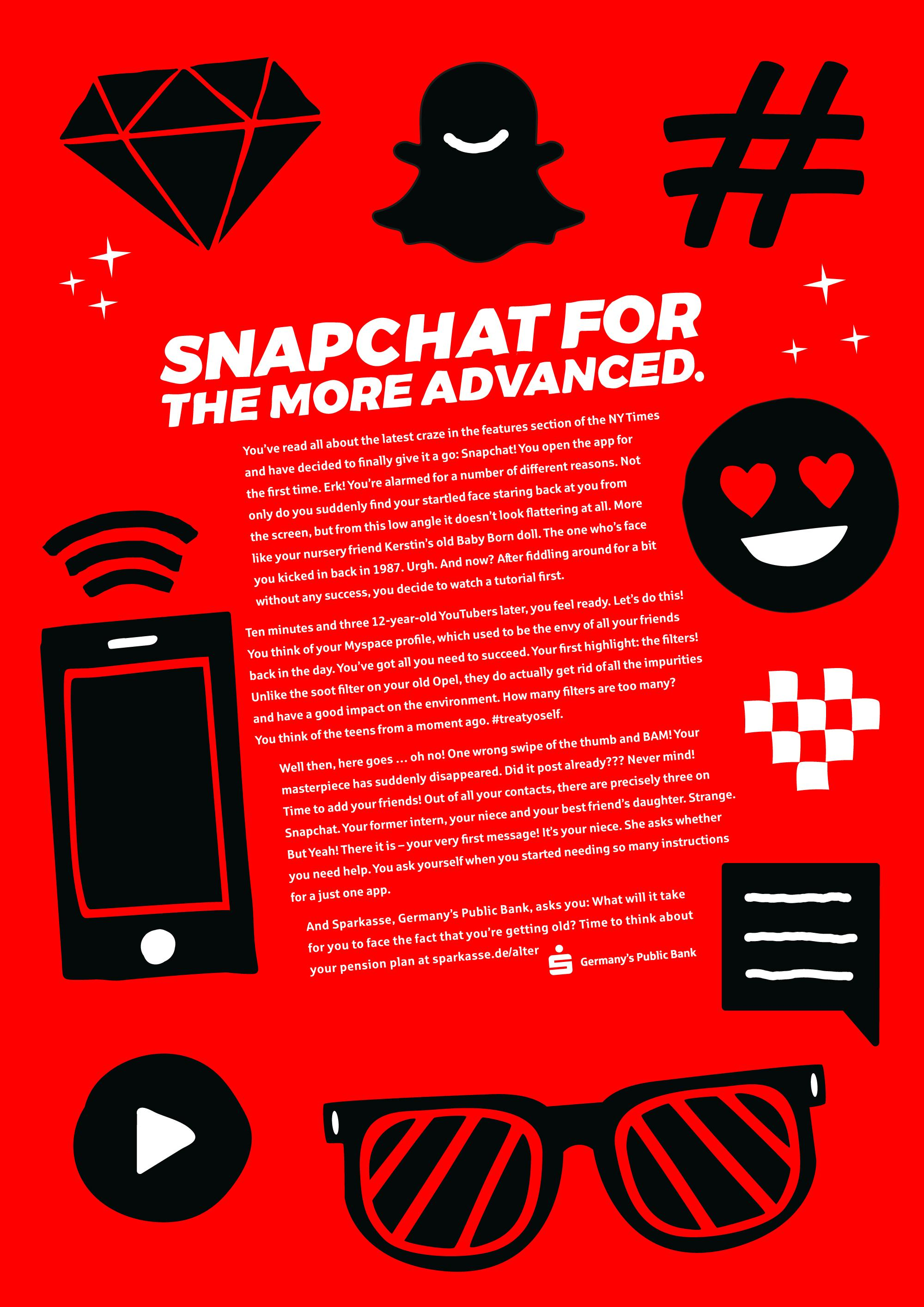 Sparkasse Print Ad - Getting Old - Snapchat