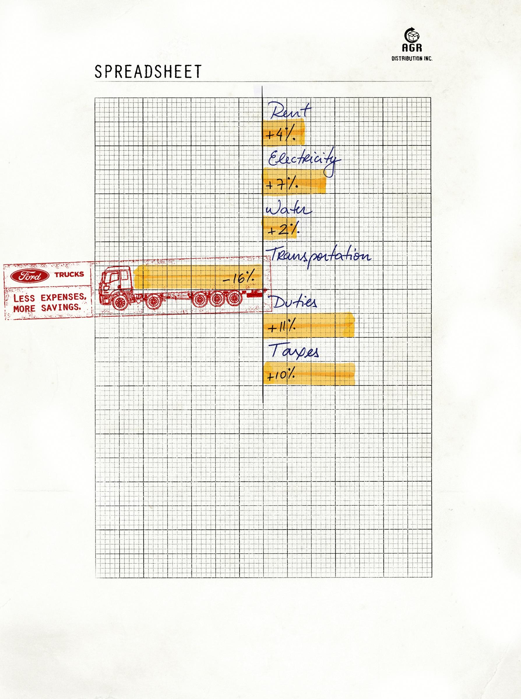 Ford Print Ad -  Spreadsheet, 1