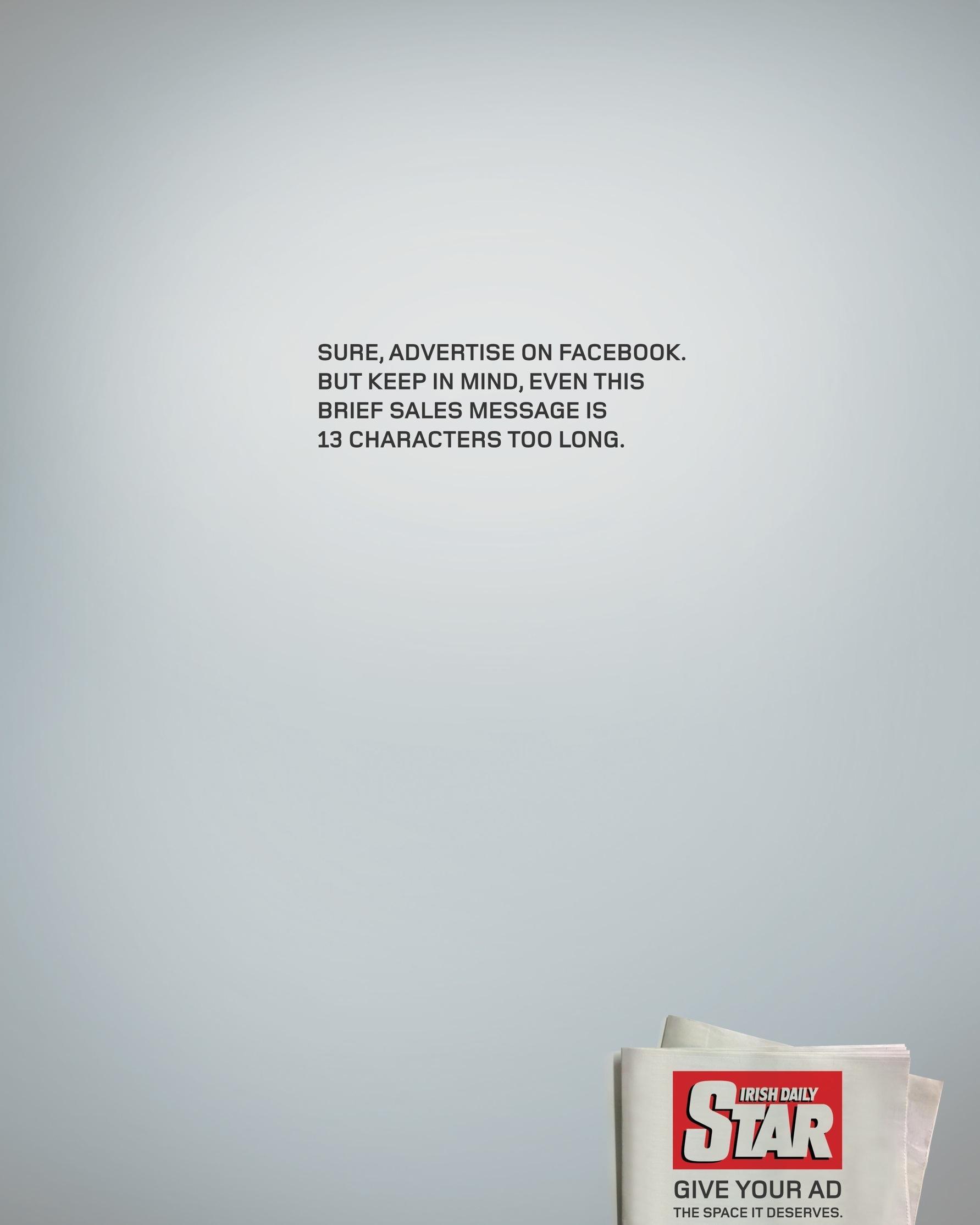 Irish Daily Star Print Ad -  Facebook