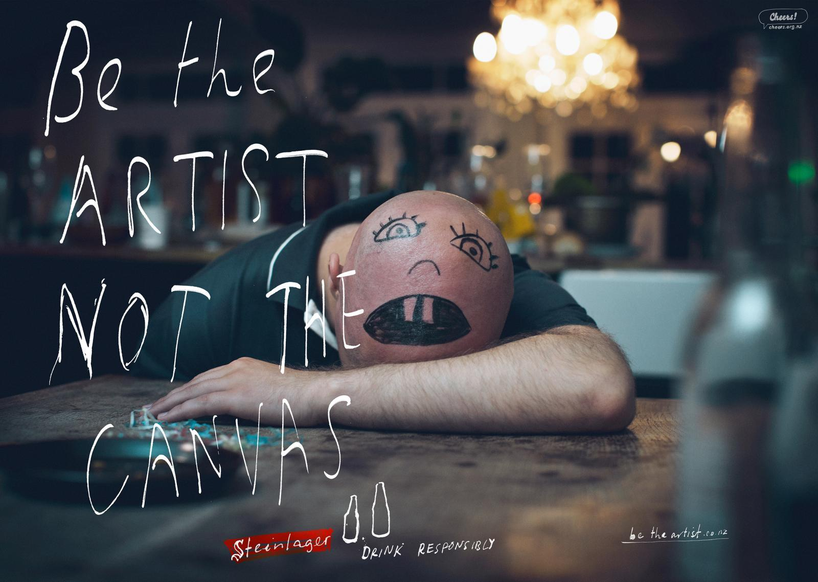 Steinlager Beer Print Ad -  Be the Artist, Bald