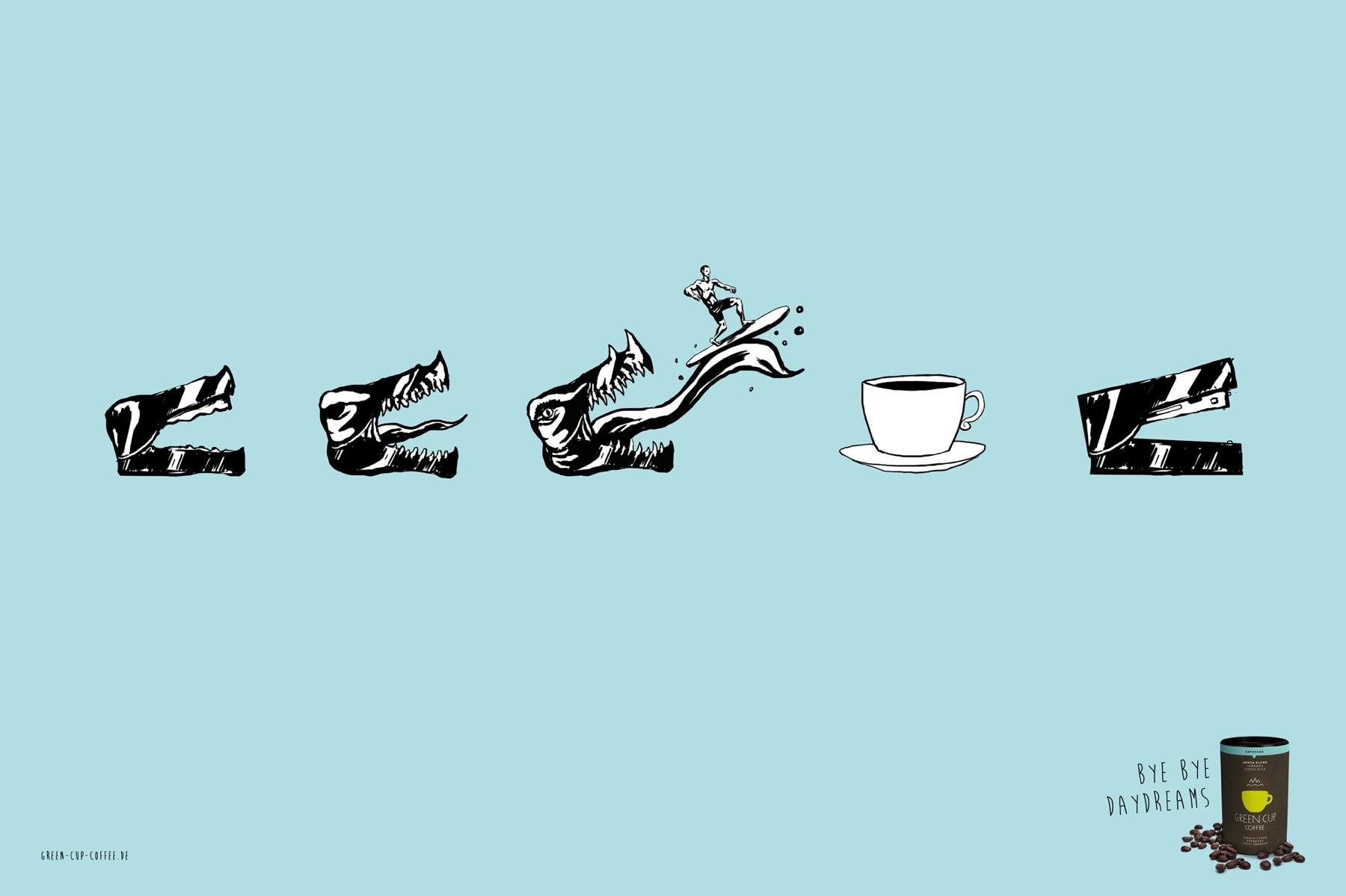 Green Cup Coffee Print Ad -  Daydreams, Surfer
