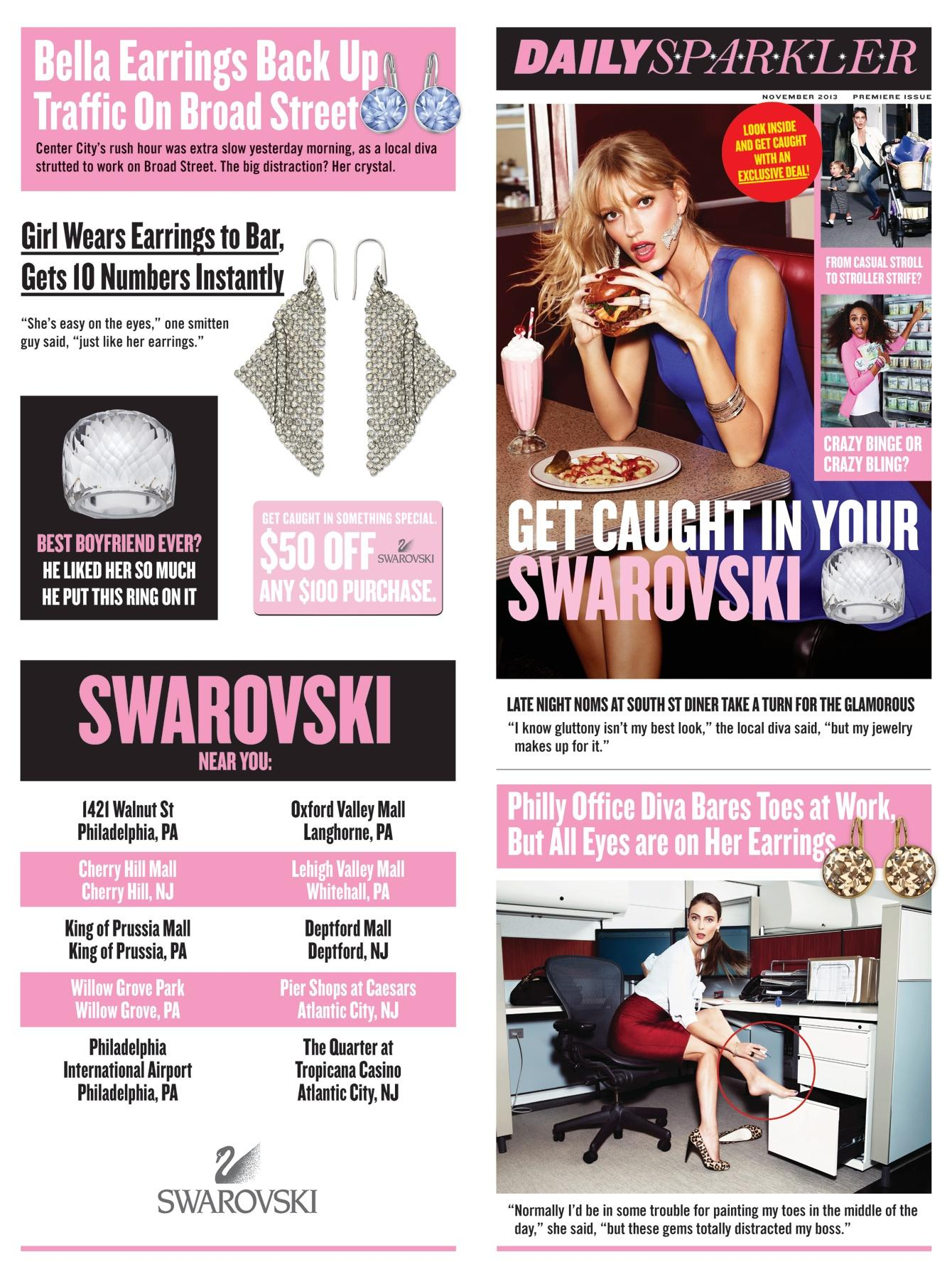 Swarovski Print Ad -  Get caught in your Swarovski, Daily Sparkler, 1