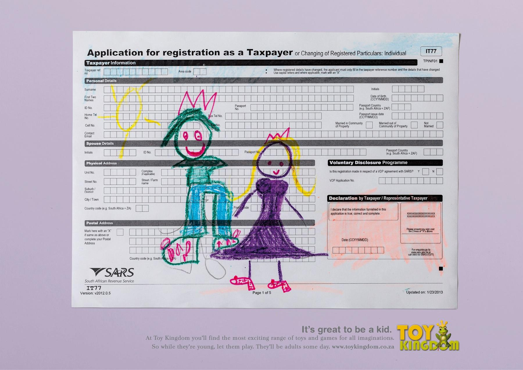 Toy Kingdom Print Ad -  Tax Form