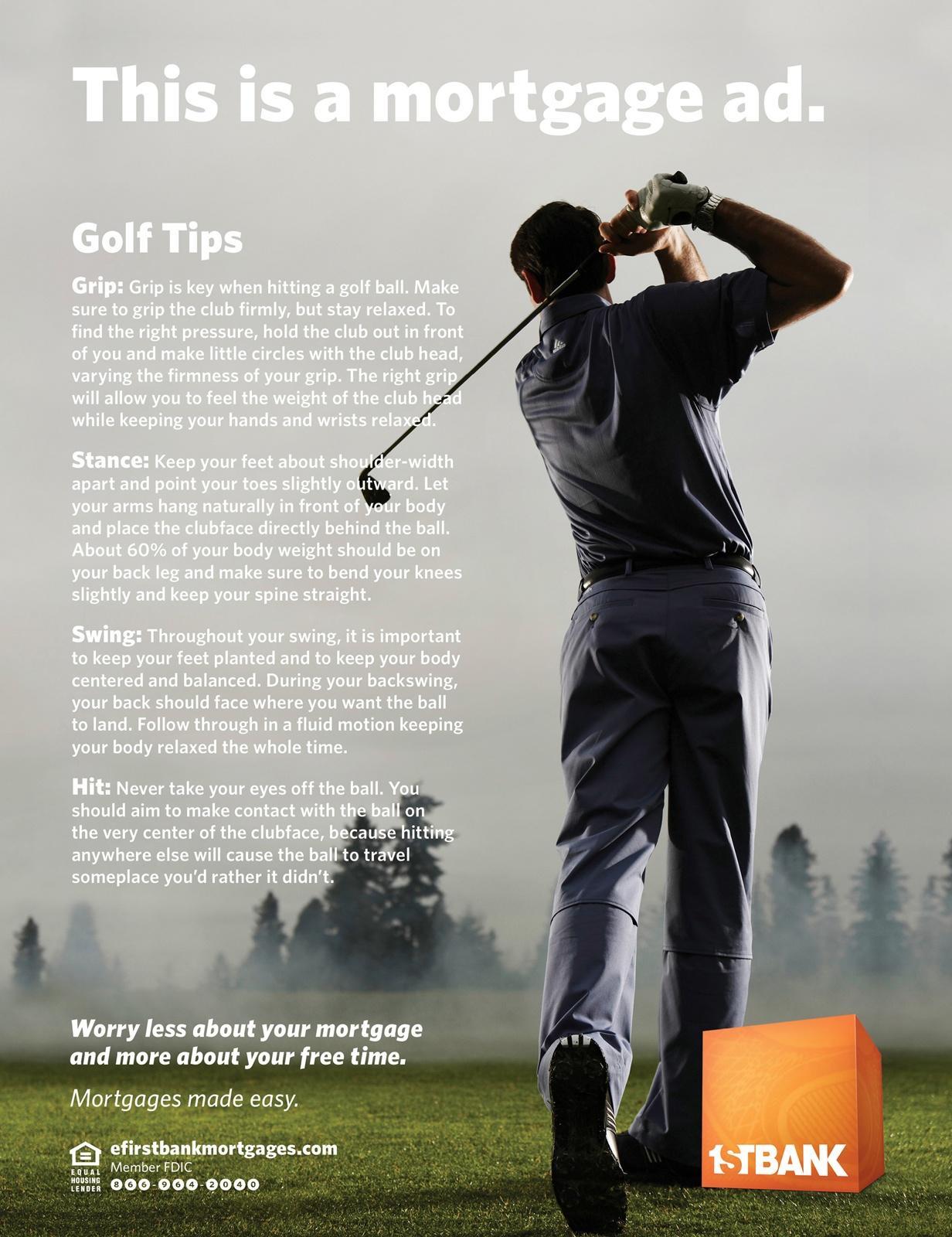 FirstBank Print Ad -  Golf Tips