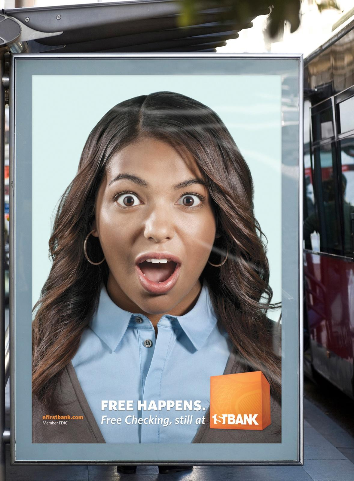 FirstBank Outdoor Ad -  Restore your faith in free, Ashley