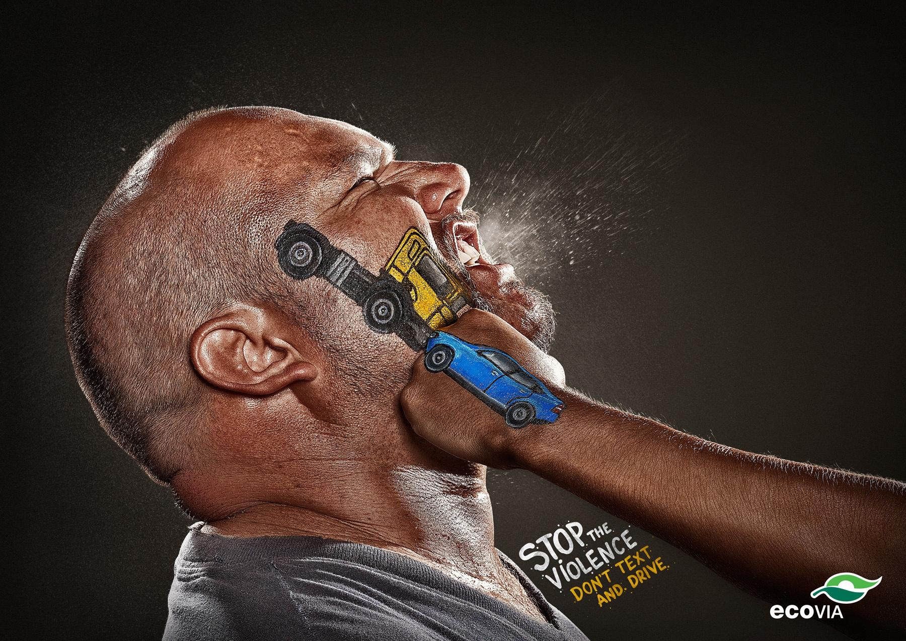 Ecovia Print Ad -  Stop the Violence, Don't text and drive