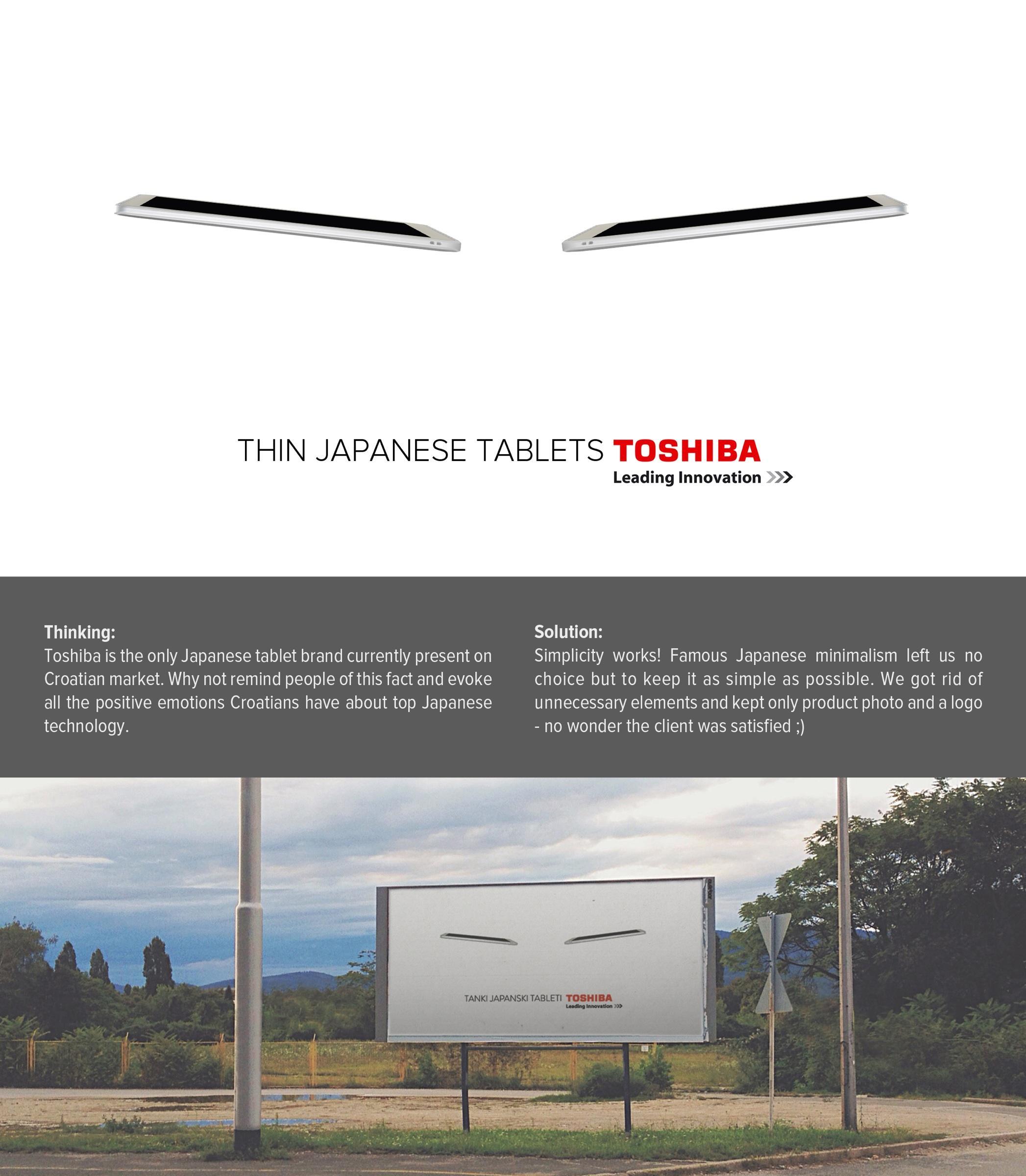 Toshiba Outdoor Ad -  Very thin Japanese tablets