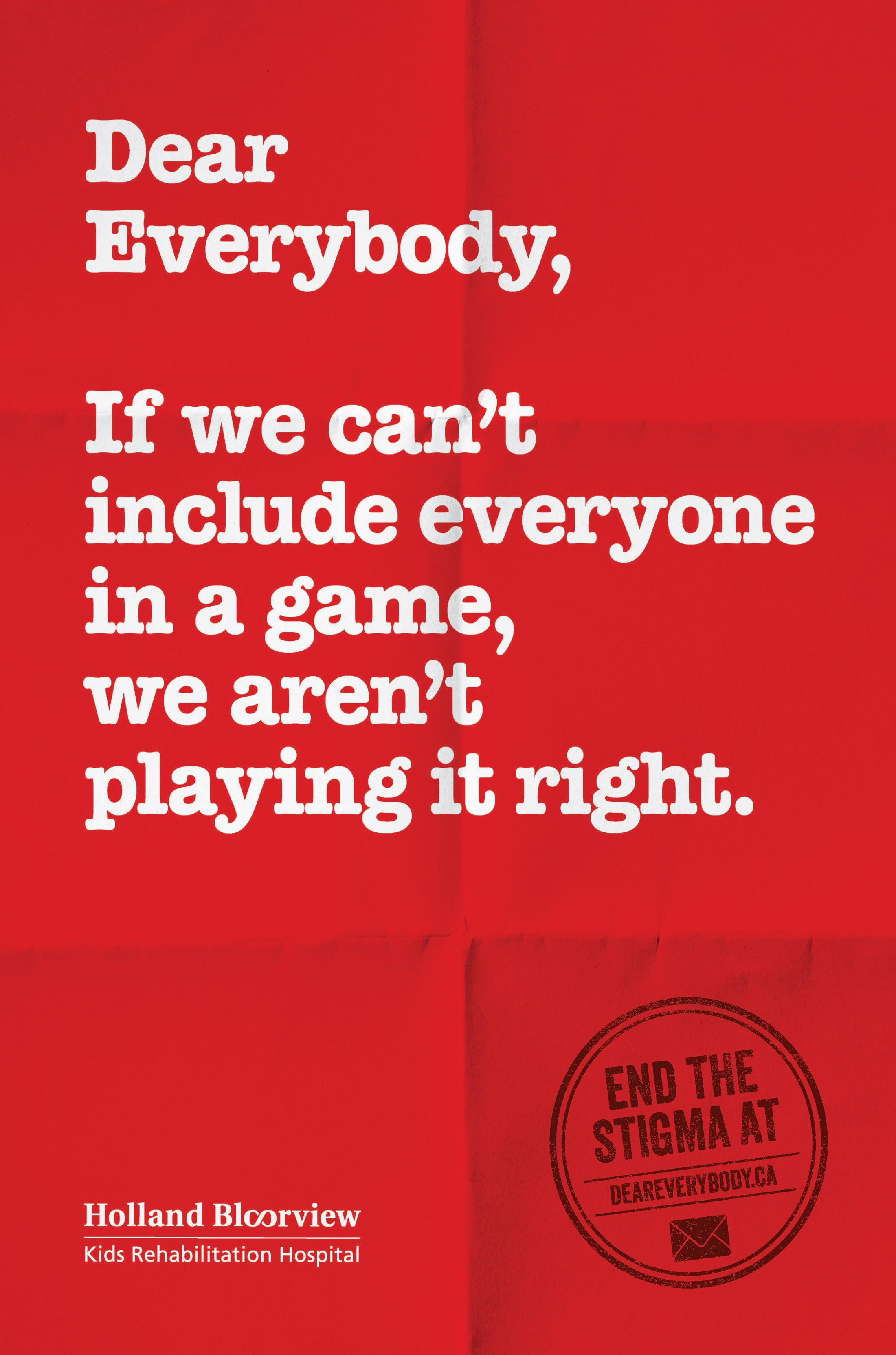 Holland Bloorview Kids Rehabilitation Outdoor Ad - Dear Everybody, 10