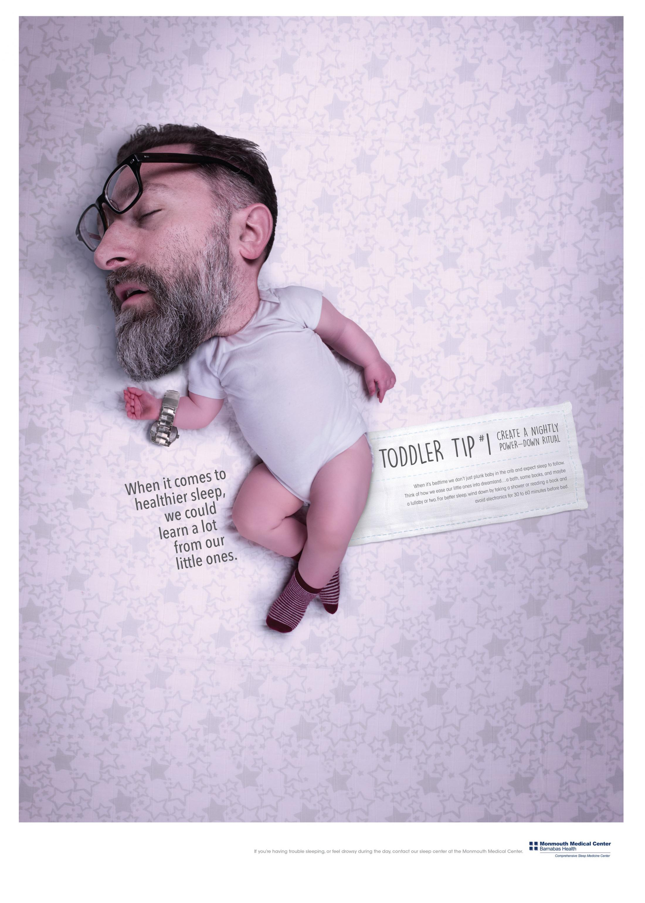 Monmouth Medical Center Print Ad - Toddler Tips Sleep Campaign, 1