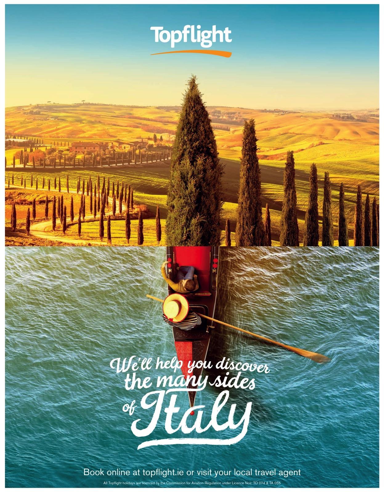 Topflight Print Ad - Many Sides of Italy