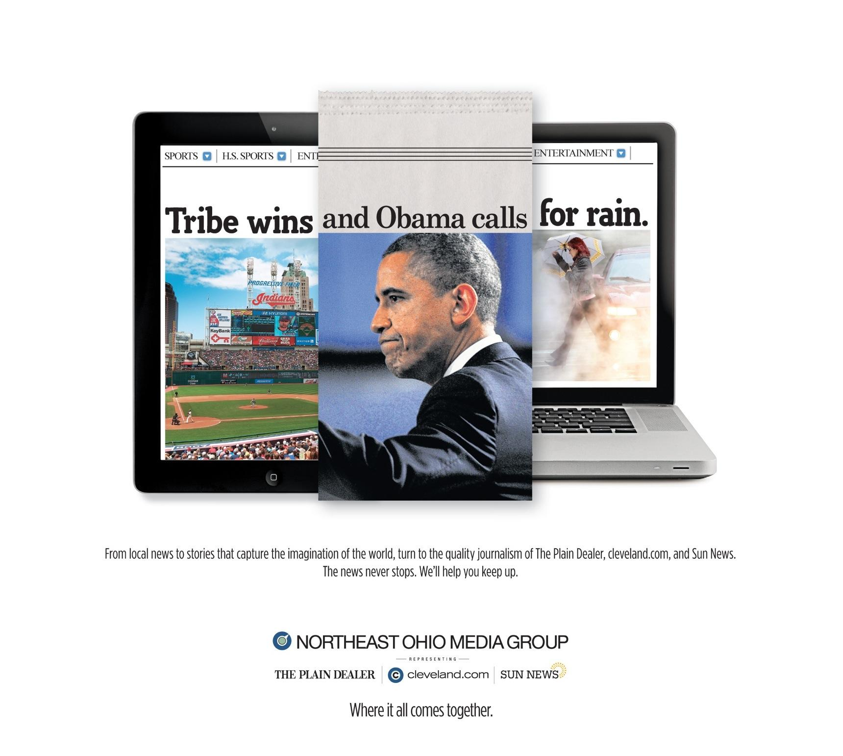 Northeast Ohio Media Group Print Ad -  Tribe-Obama-Rain