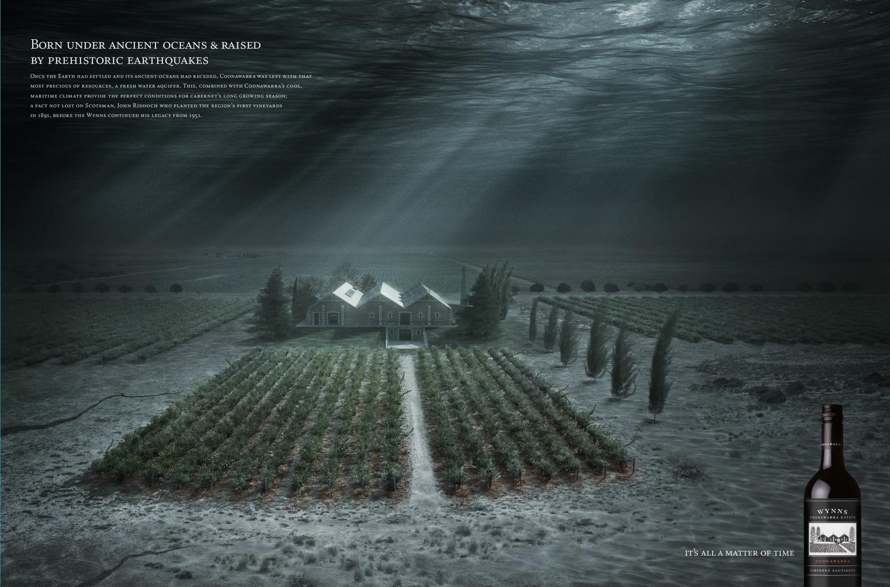 Wynns Coonawarra Estate Print Ad -  Under Water