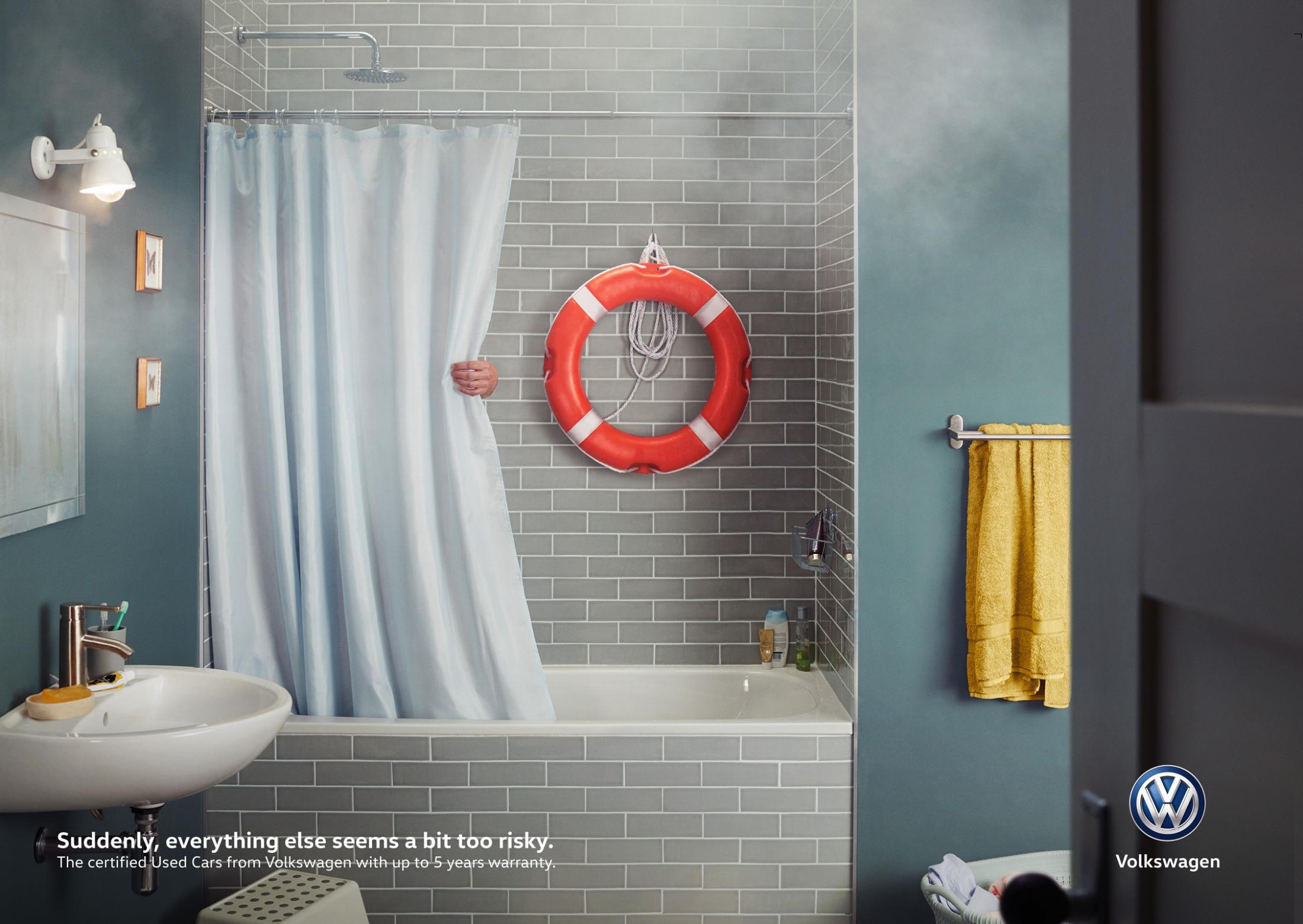 Volkswagen Print Ad - A Bit Too Risky - Shower
