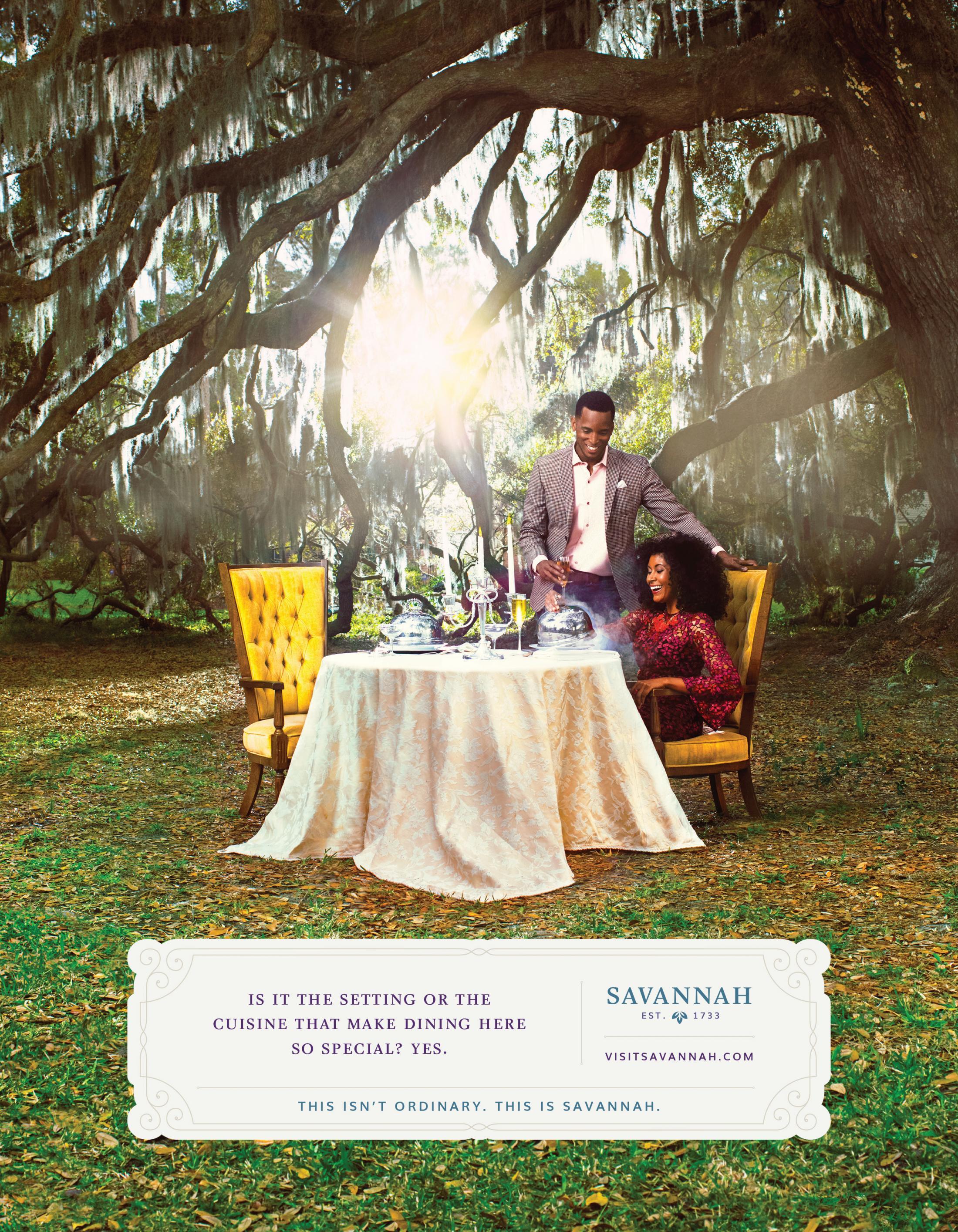 Visit Savannah Print Ad - Dining Under Majestic Oaks