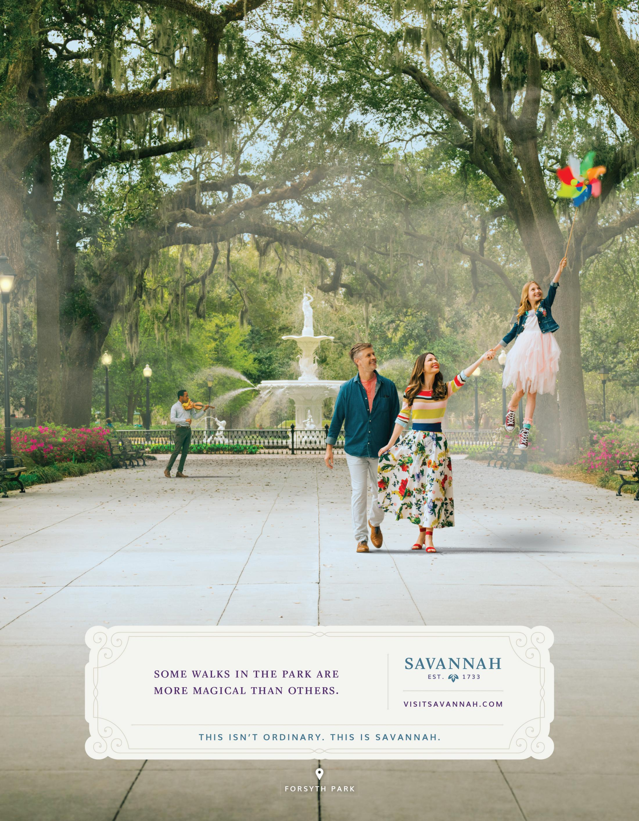 Visit Savannah Print Ad - Forsyth Park