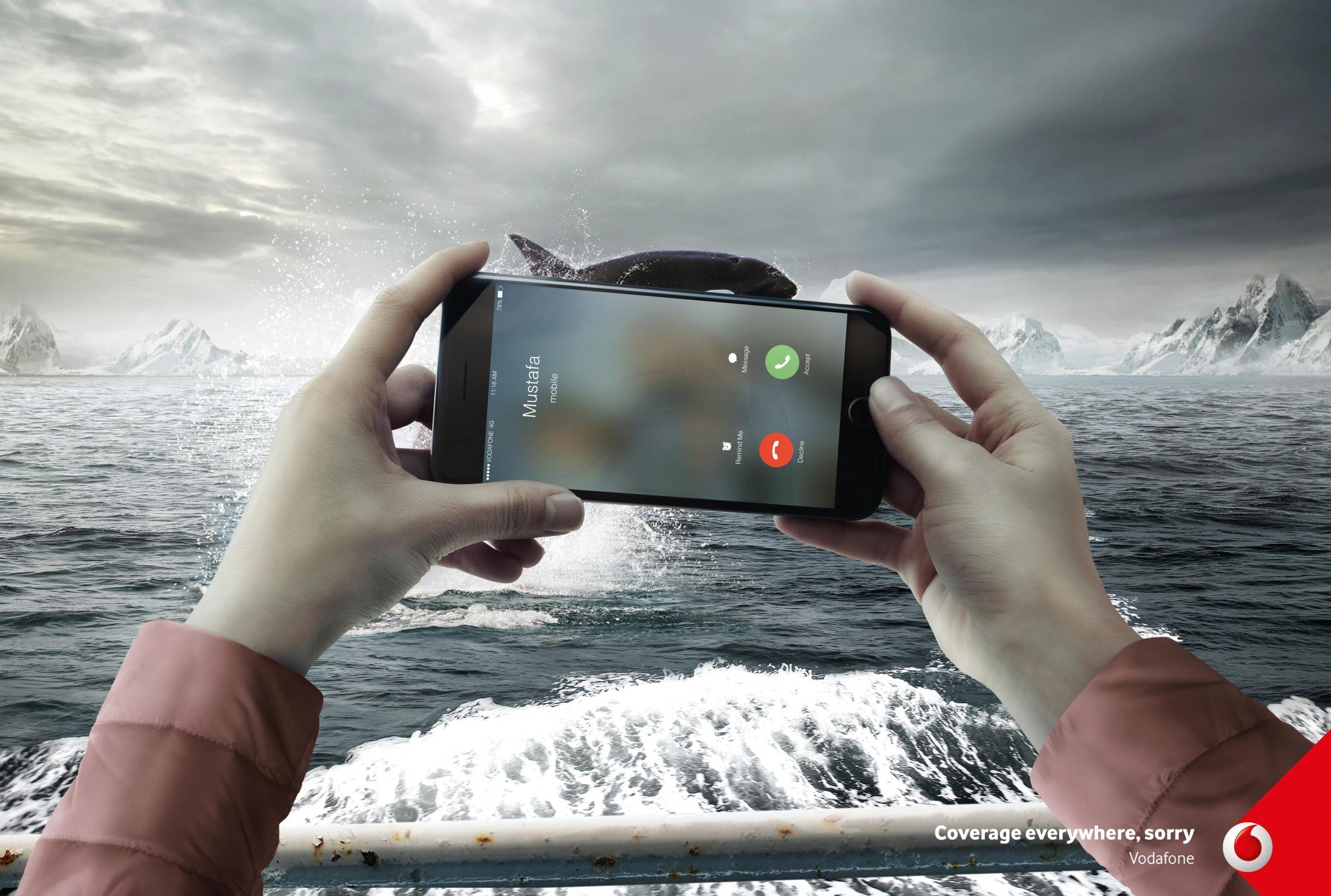 Vodafone Print Ad - Sorry / Whale, Print