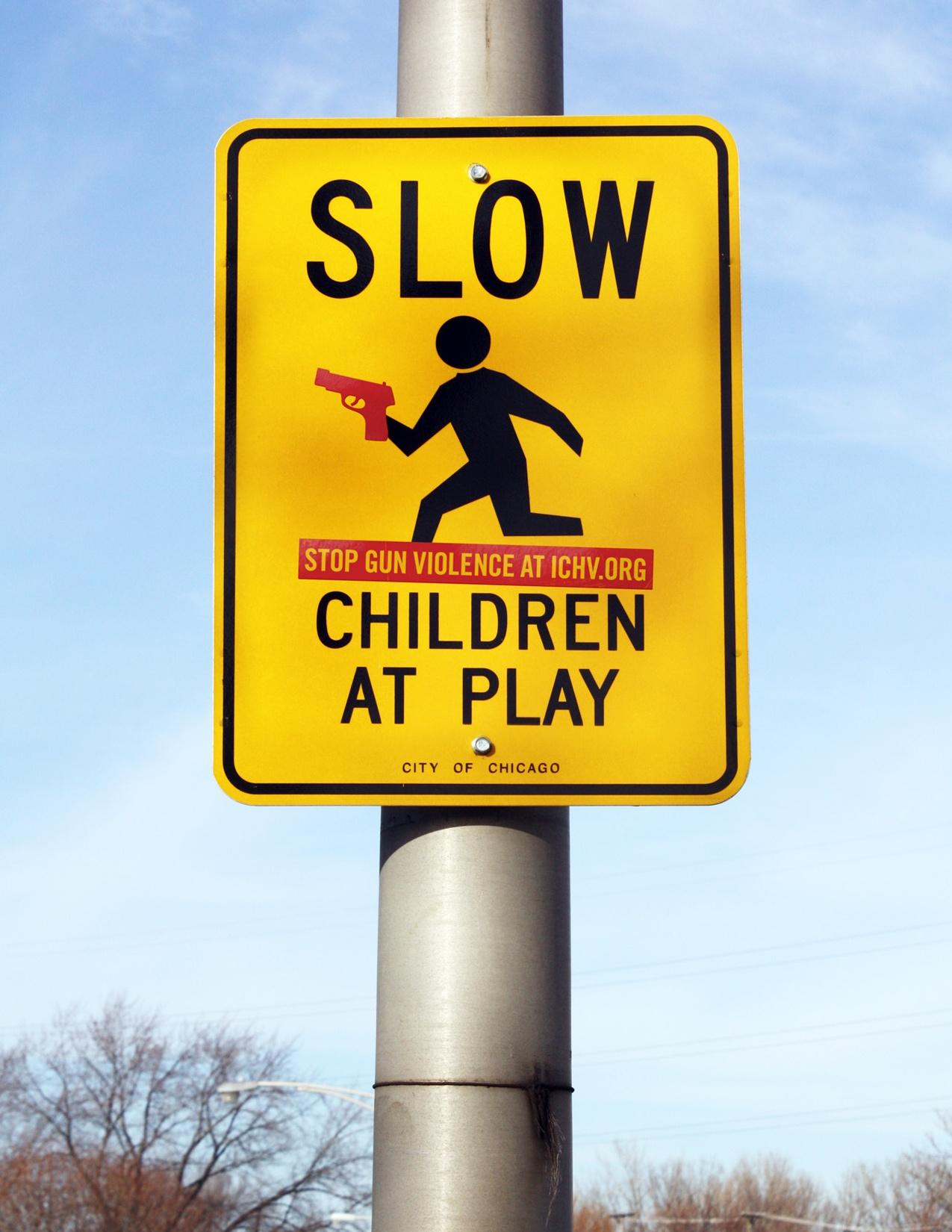 Illinois Council Against Handgun Violence Ambient Ad -  Warning Signs, Children Playing