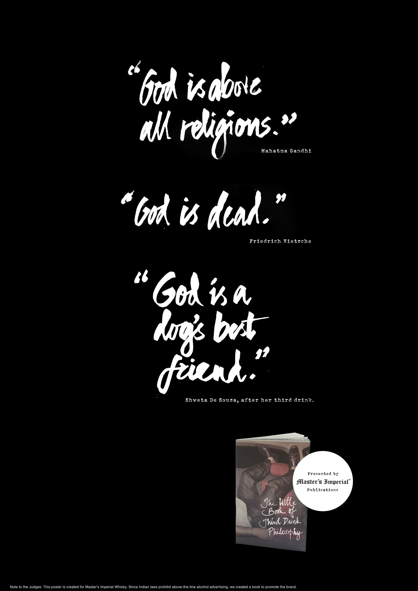 Master's Imperial Whisky Outdoor Ad -  Third Drink Philosophy - God