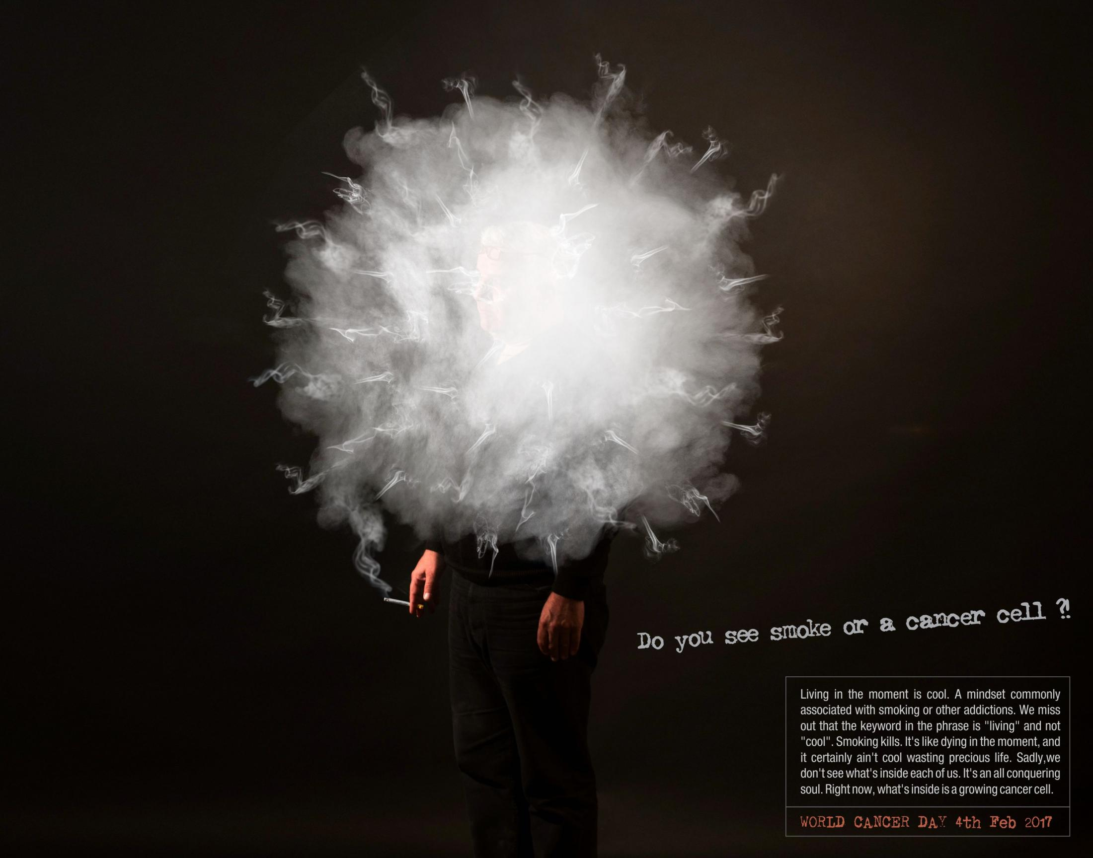 Pencil Wings Print Ad - Smoke or cancer cell