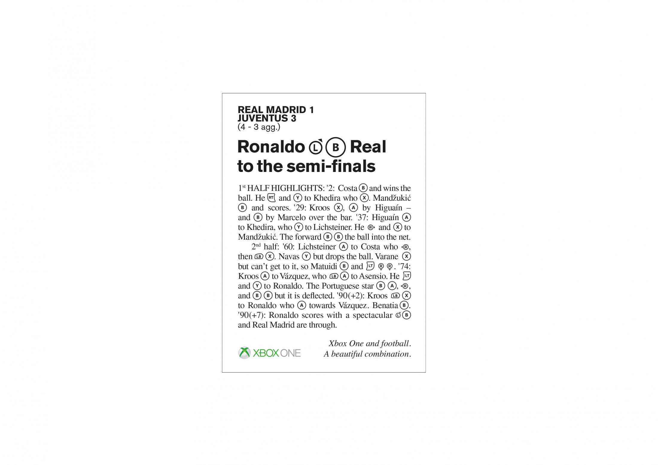 Xbox Print Ad - Champions League Match Report