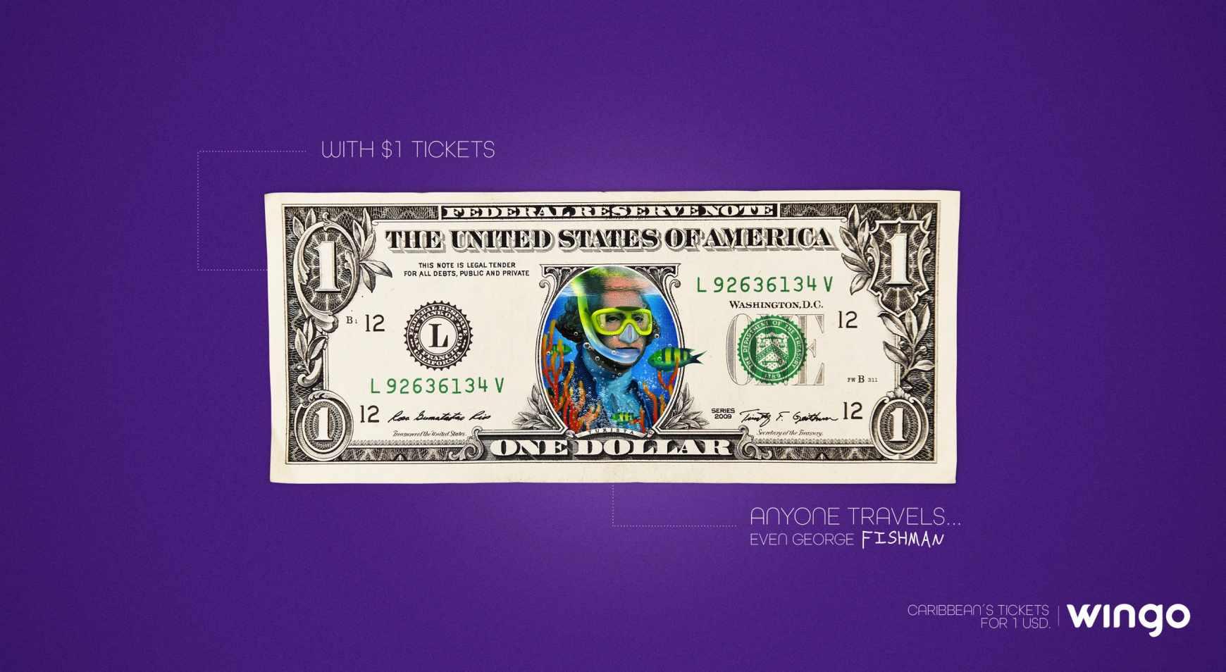 Wingo Print Ad - 1 Dollar Tickets, George Fishman