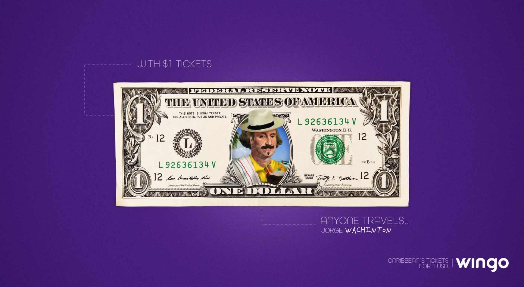 Wingo Print Ad - 1 Dollar Tickets, George Wachinton