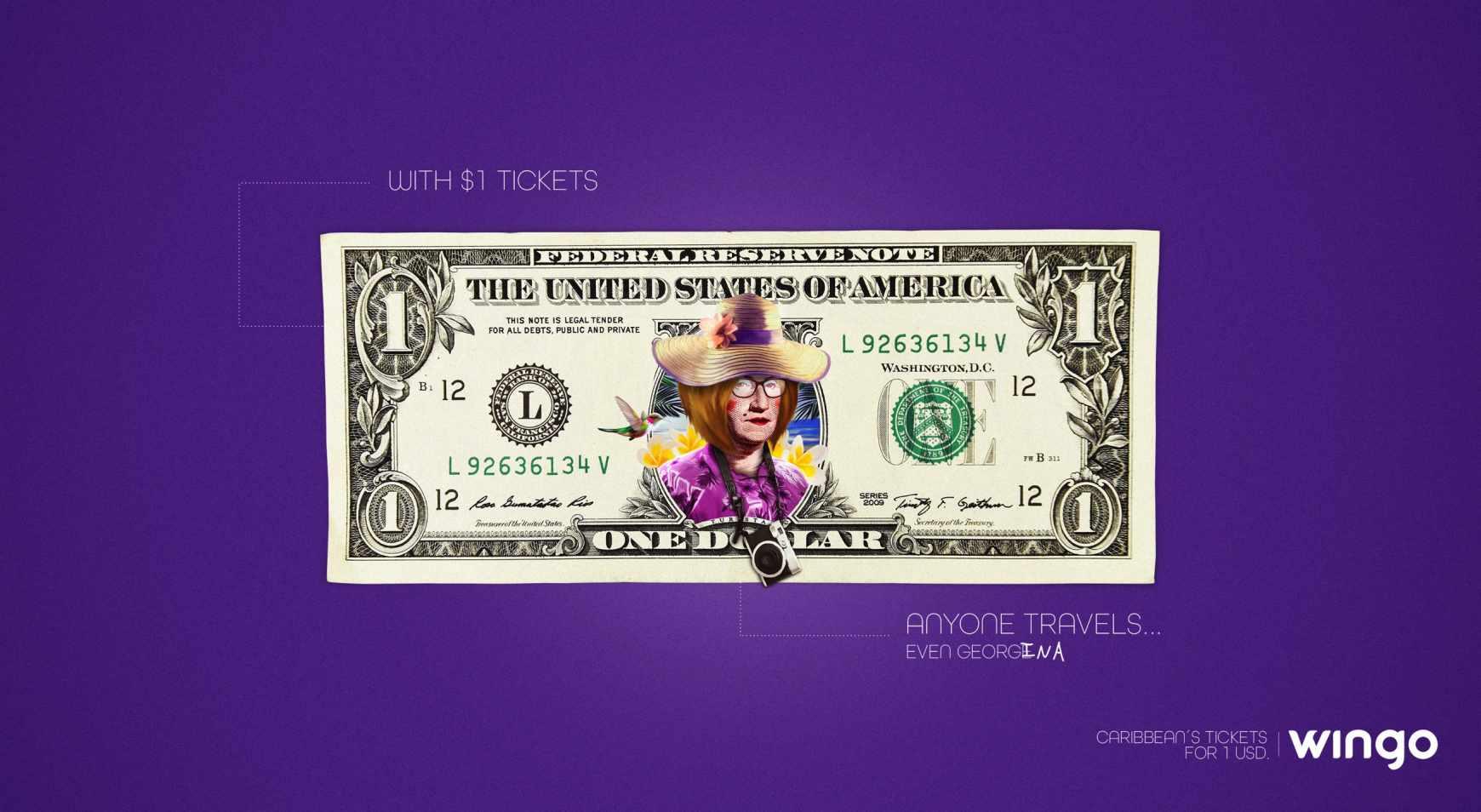Wingo Print Ad - 1 Dollar Tickets, Georgina