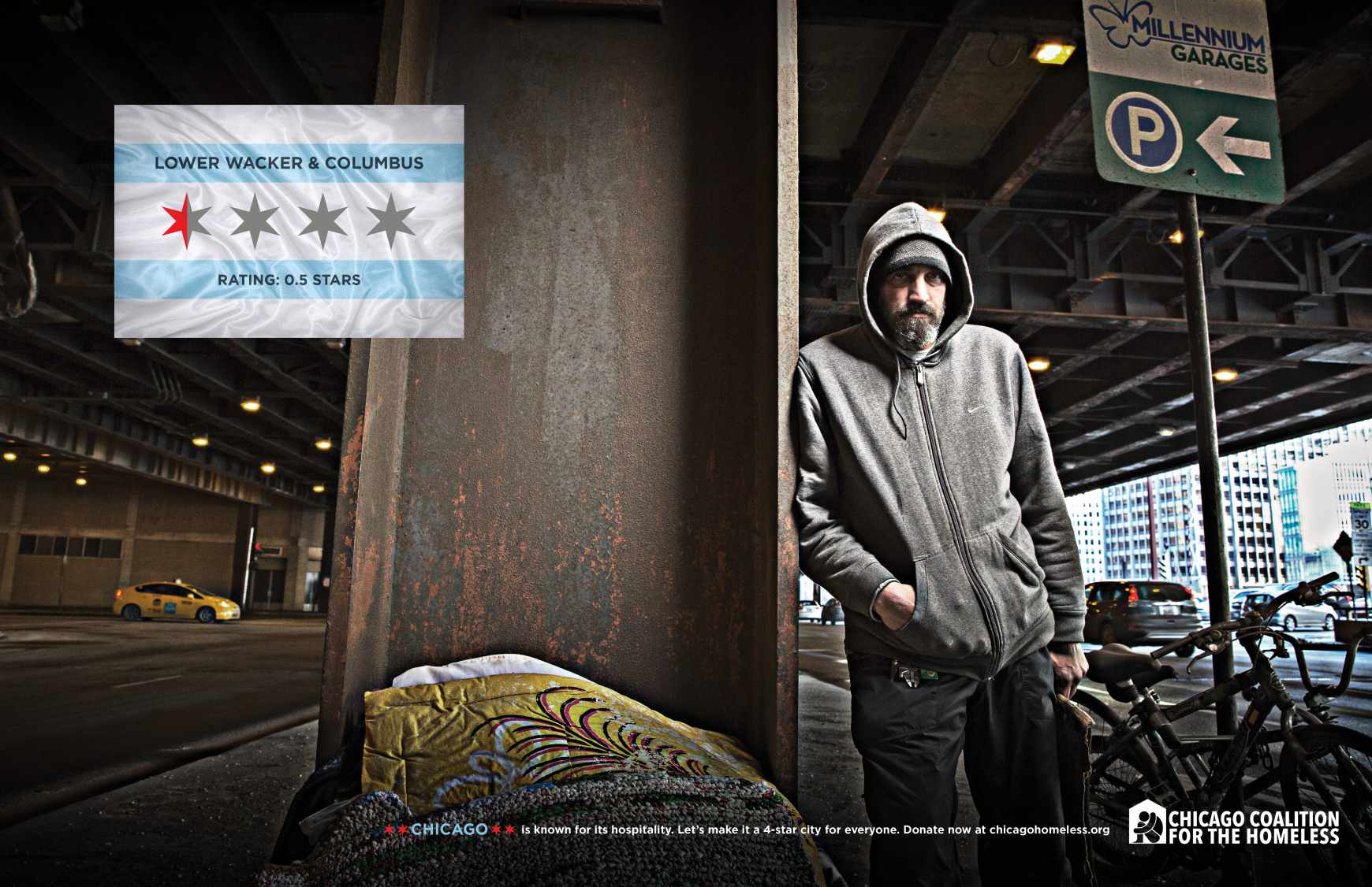 Chicago Collation For The Homeless Print Ad - 4 STAR CITY - LOWER WACKER AND COLUMBUS