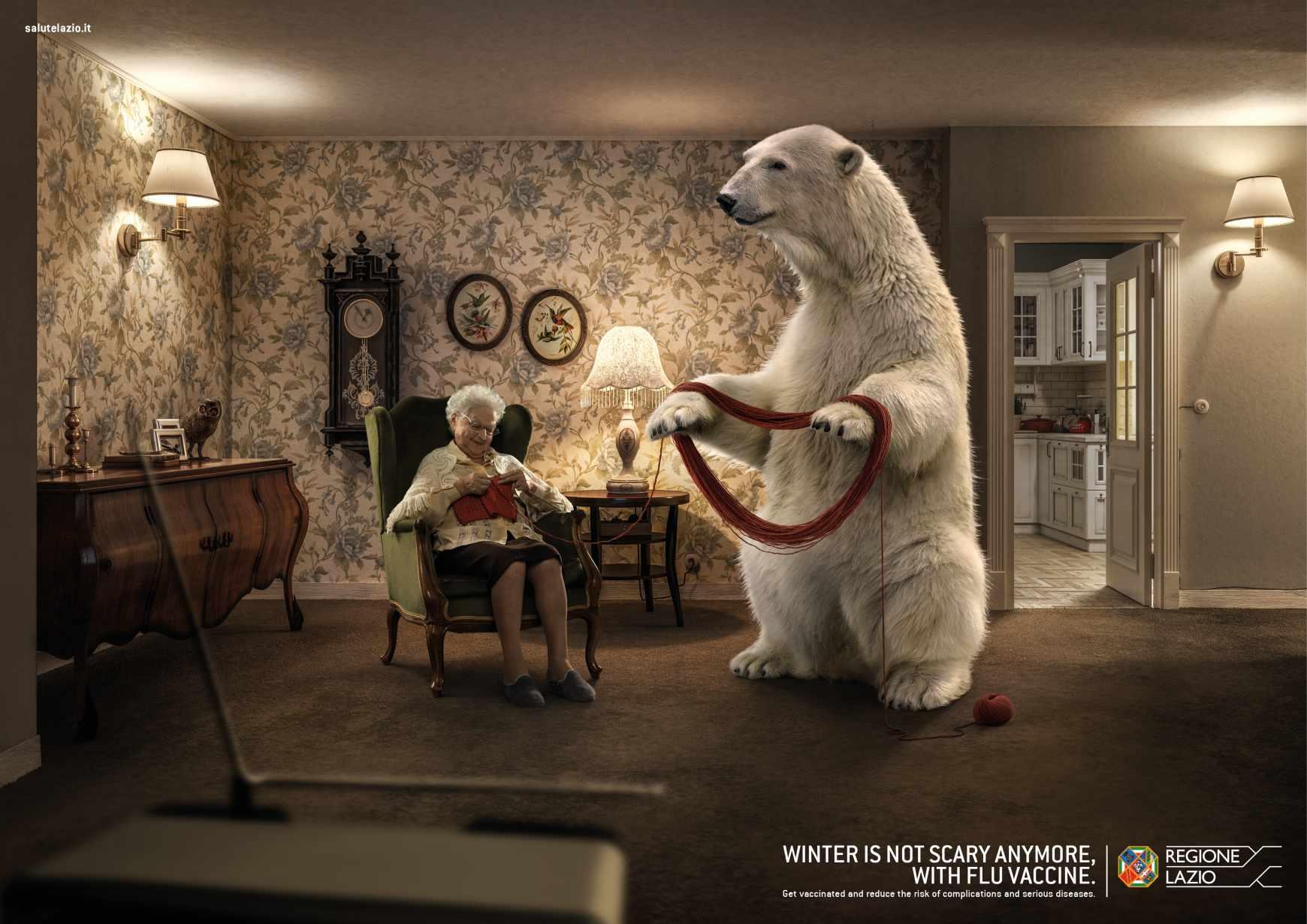 Regione Lazio Print Ad - Unscary Winter - Bear