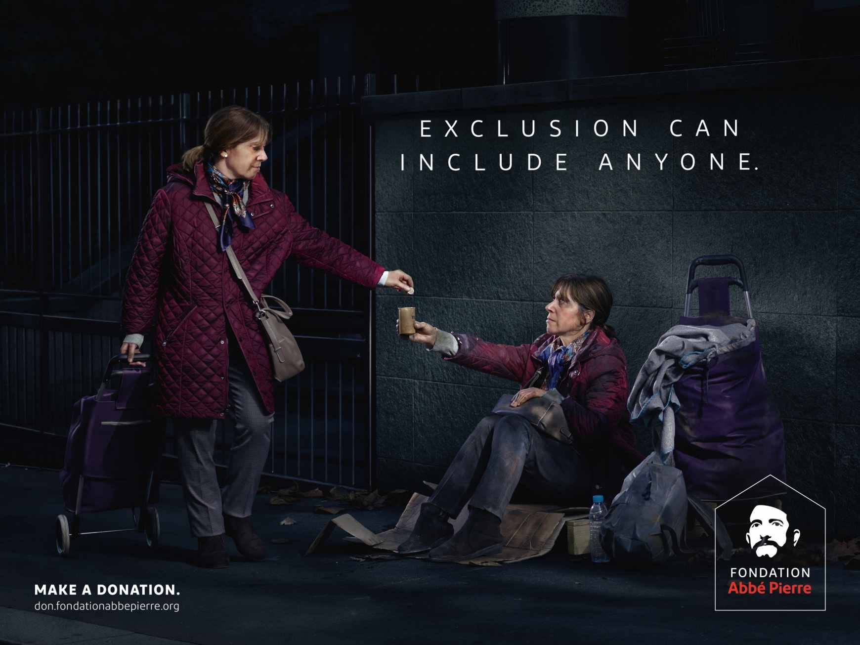 Fondation Abbé Pierre Outdoor Ad - Exclusion can include anyone, 2