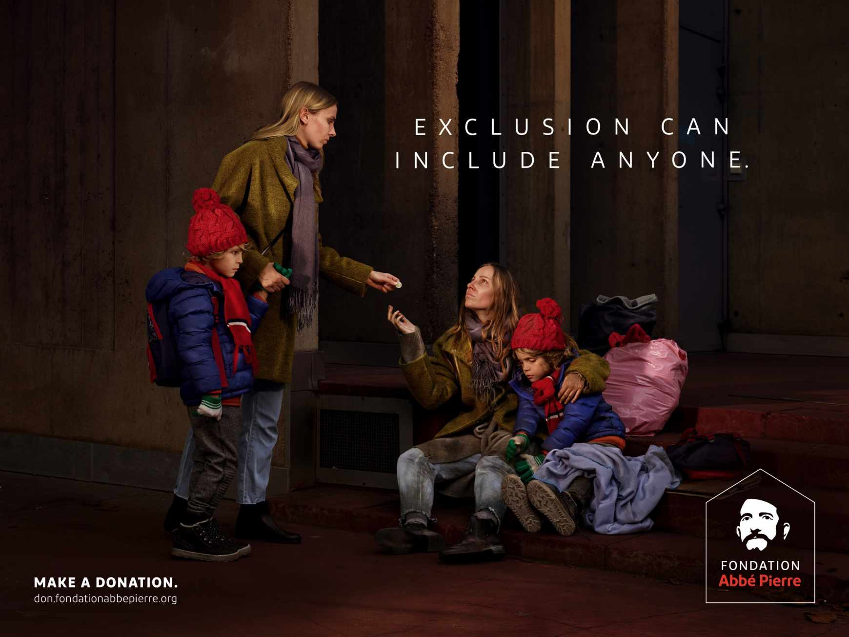 Fondation Abbé Pierre Outdoor Ad - Exclusion can include anyone, 3