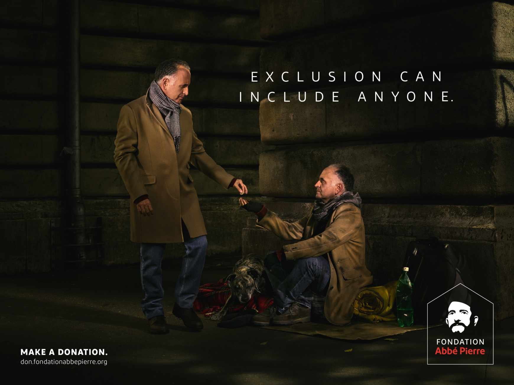 Fondation Abbé Pierre Outdoor Ad - Exclusion can include anyone, 1