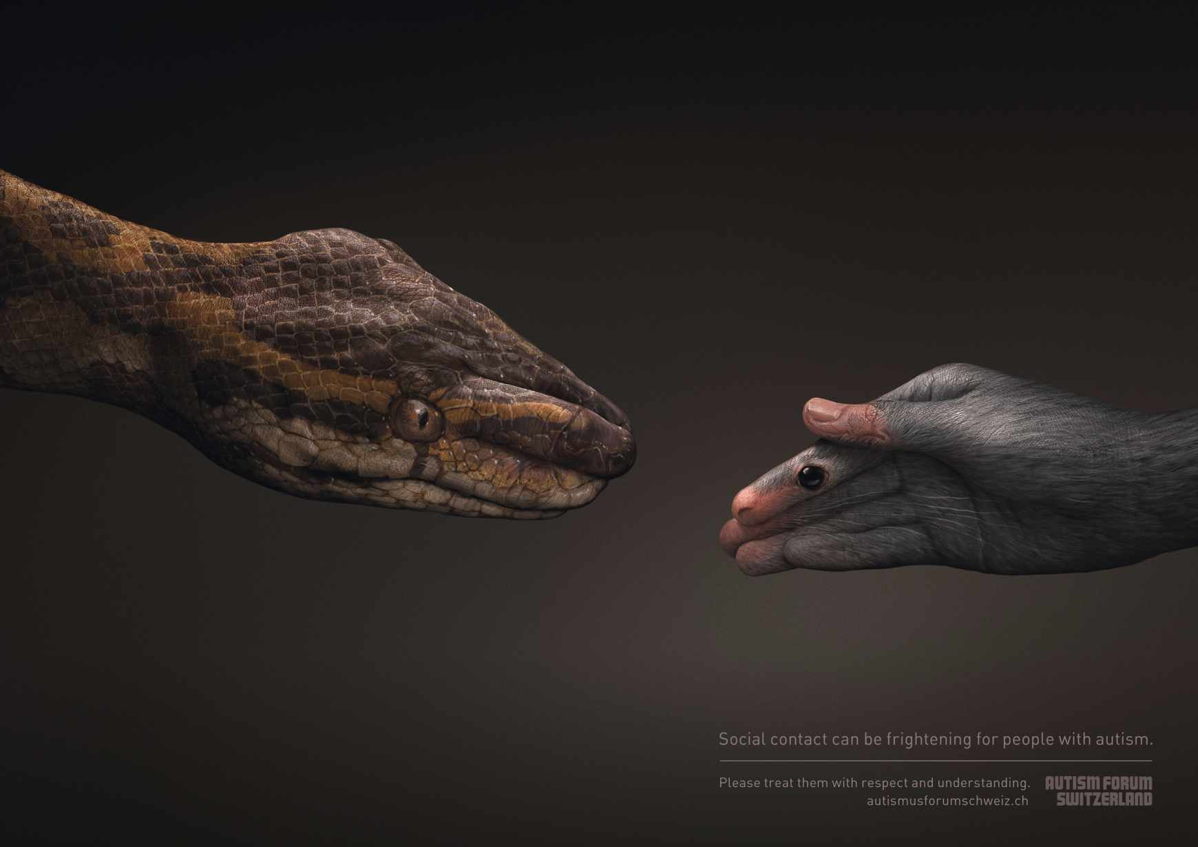 Autism Forum Switzerland Print Ad - Snake/Mouse