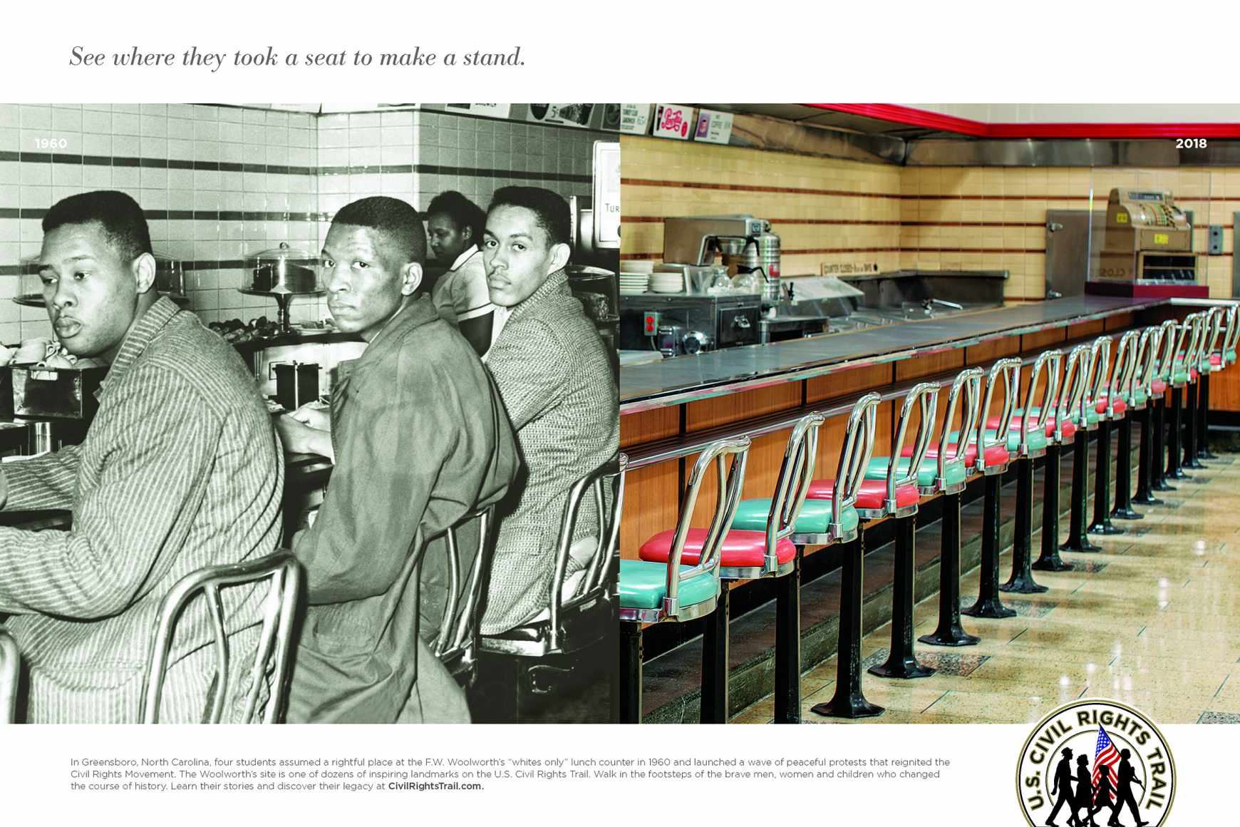 U.S. Civil Rights Trail Print Ad - Greensboro Four